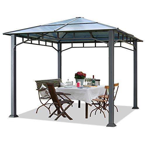 Gartenpavillon 3x3 m Aluminium Gestänge Polycarbonat Dach ca. 8mm Pavillon Gartenzelt ohne Seitenteile