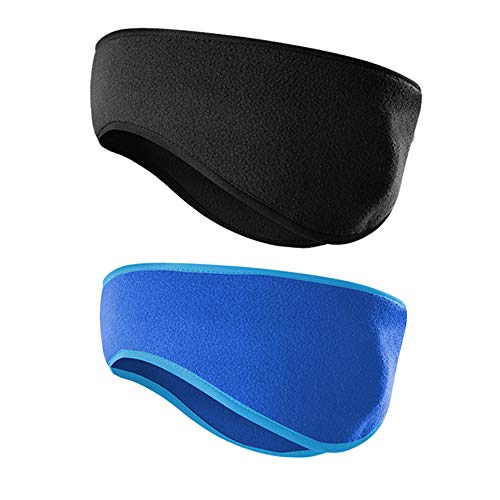 JOEYOUNG Fleece Ear Warmers/Muffs Headband for Men & Women Kids Perfect for Winter Running Yoga Skiing Work Out Riding Bike in Cold and Freezing Days (T-Black+Blue)
