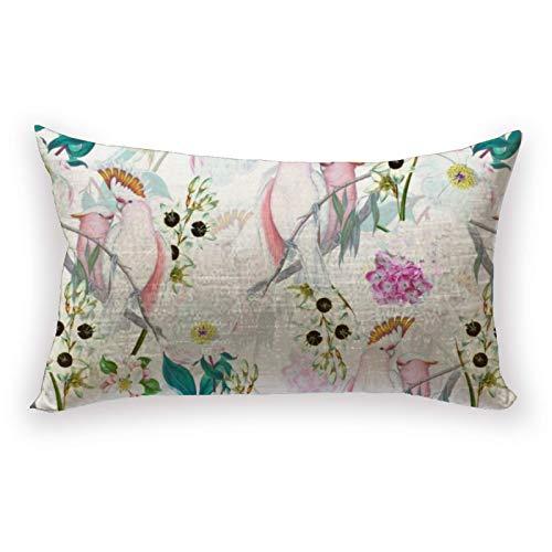 Hustor Redouté - Funda de almohada con diseño de flores tropicales y pájaros, color blanco, funda de almohada para sofá, cama, coche, 30,5 x 50,8 cm