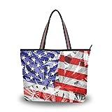 Emoya Damen Umhängetasche Schultertasche USA Flagge auf Cannabis Marihuana Blatt oben Handgriff Tote Bag Schultertasche Umhängetasche M, Mehrfarbig - multi - Größe: Medium