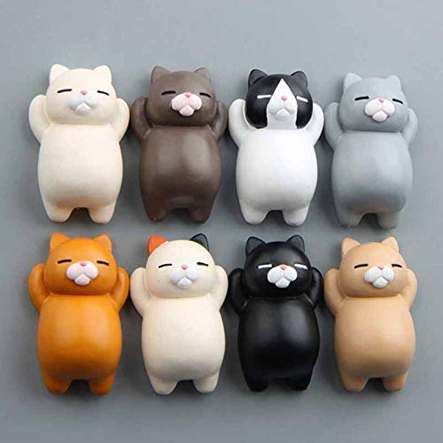 8PC Frigorífico grasa divertida caricatura gato animales del refrigerador del gato magnético Holder etiqueta engomada del refrigerador del hogar del regalo lindo imanes Decoraciones