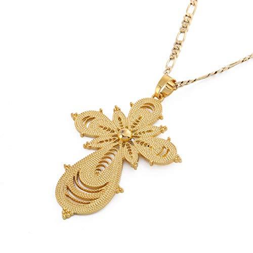 BR Gold Jewelry Kettenanhänger äthiopisches Kreuz 18 Karat vergoldet äthiopisches Eritrea