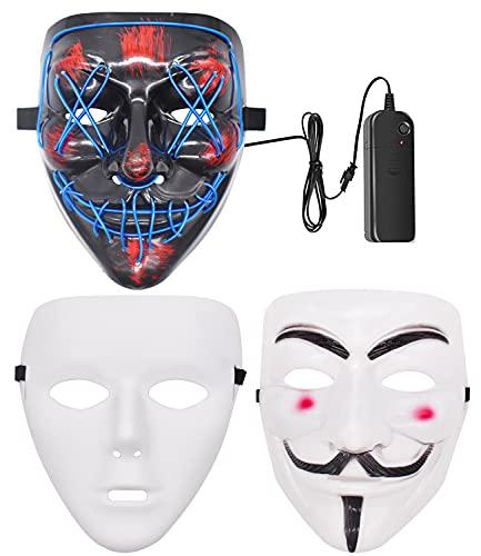 BSNRDX 3 Halloween Mascaras de Terror,LED MáScara Luminosa/V de Vendetta...