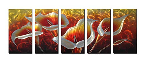 Unique Metal Wall Art with Red and Golden Greenish Lily Flower Design, Abstract Modern and Contemporary Décor, Metal Wall Sculpture, Silver Aluminum Artwork, Indoor and Outdoor decoration, 5 panels 64