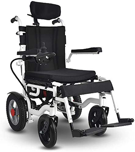 CGXYZ Elektrischer Rollstuhl Mit Kopfstütze, Intelligente Automatische Elektrorollstuhl,Faltbar Tragbare, Frei-Reiten, Rollstuhl(Kann 140Kg Unterstützen),Sitzbreite 40Cm,