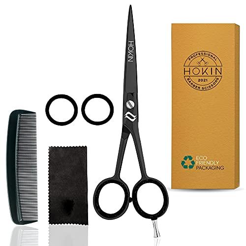 HOKIN Tijeras Peluquería Profesional Tijeras de acero inoxidable de 6.5 tijeras cortar pelo para adelgazar - Para hombres, mujeres y niños (Tijeras Peluquería) (Negro)