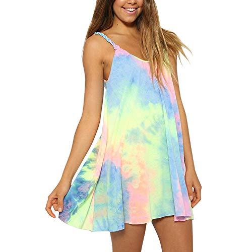 Andy's Share, Damen Armlos Lässig Top Minikleid mit regenbogenartigen Farben