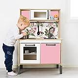 Aufkleber IKEA DUKTIG Kinderküche IKK-K701 Spielküche Klebefolie Möbelfolie Sticker Kinderzimmer Fliesen Metro Subway (Möbel nicht inklusive) (Blumen Pink)