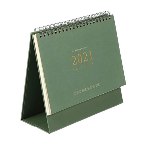 NUOBESTY 2021 Standing Desk Calendar Desktop Tent Calendar Academic Year Stand Up Flip Calendars Schedule Planner Monthly Page Easel Calendar New Year Gifts Green