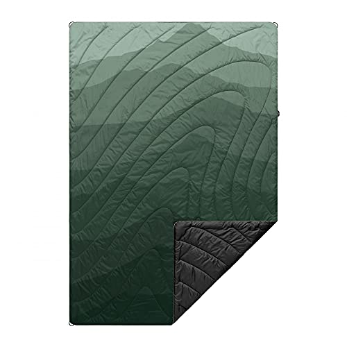 Rumpl The Original Puffy | Printed Outdoor Camping Blanket for Traveling, Picnics, Beach Trips, Concerts | Cascade Fade Green, 1-Person