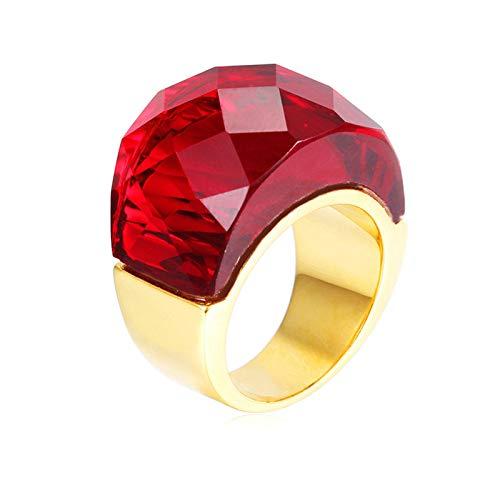 AnazoZ Anillos Piedra Oro Oval Anillos de Rojo Anillos Mujer Acero Inoxidable Anillo Talla 15