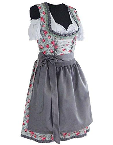 3tlg. Dirndl Damen Kleid A311, Grau, Gr. 40