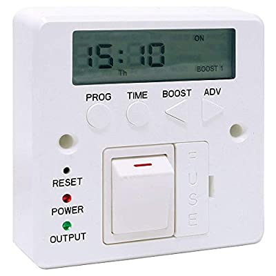 LightHub 7 Day 3kW Electronic Fused Timer Spur Switch with Boost for LED Lights, Heating, Immersion Heater & Lighting by LightHub