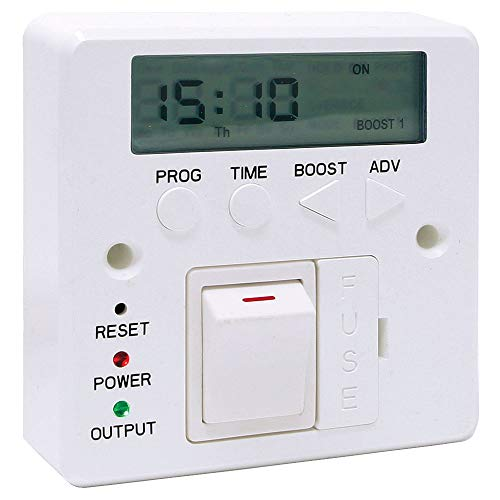 LightHub 7 Day 3kW Electronic Fused Timer Spur Switch with Boost for LED Lights, Heating, Immersion Heater & Lighting