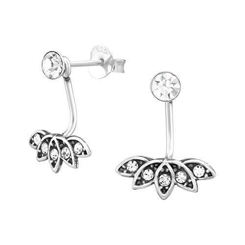 Tata Giselle - Pendientes bajo el lóbulo de plata rodiada 925/1000 y cristal – Un cristal central y plata antigua con cristal bajo el lóbulo – 16 mm