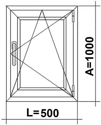 (V32M) Finestra PVC 500 x 1000 Oscilobatiente destro 1 h, bianco