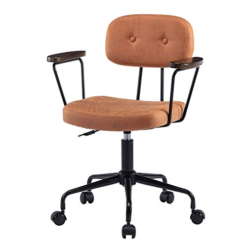 Olela Swivel Office Chair Low-Back Computer Task Chair with Wheels Microfiber Rolling Desk Chair Vintage Rustic Industrial Style with Wooden Arms Metal Base and Height Adjustable, Orange