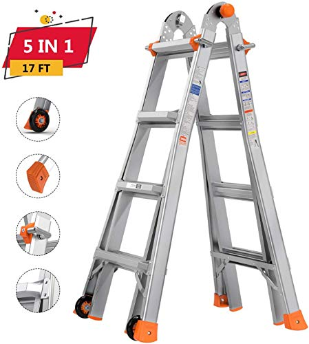 Telescoping Ladder TACKLIFE, 17ft Aluminum Multi-Use Ladder with Protective Lock and 2 Wheels, 300lb Max Duty and Non-Slip Foot Pad, 5 Height Modes, Suitable for Home/Working