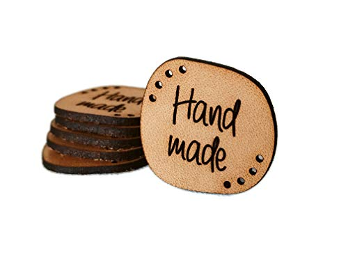 Handmade Leather Labels'Hand Made' Mod. HMS2 - Exclusive Engraved Genuine Italian Leather Tags (Standard Text - 15 Pieces)