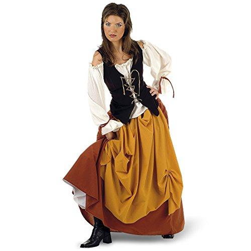 Mittelalter Bäuerin Kostüm Damen Rock mit Bluse und Weste - M