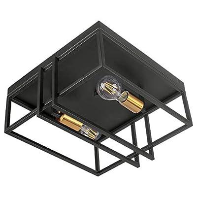Jazava 3-Light Square Flush Mount Ceiling Light, Black Finish and Antique Brass Accents