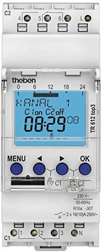 Theben 6120130 - TR612 Top 3 - Inerruptor horario Digital - 2 Canal - Carril DIN - 2 módulos - Programación Mediante aplicación (App)