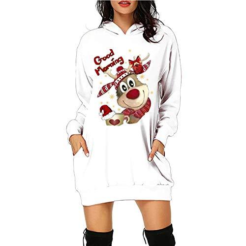 Xmiral Hoodie Kleid für Damen Weihnachten Gedruckte Langpullover Langarm Winterpullover mit Taschen(c-Weiß,XXL)