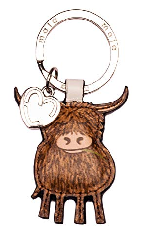Highland Cow Leather Keyring with Gift dustbag by Mala Leather