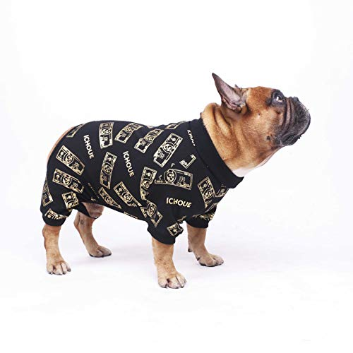 iChoue Rich Dog Series Pet Clothes Pajama Jumpsuit PJS Shirt French Bulldog Pug Boston Terrier T-Shirt - Black Money L