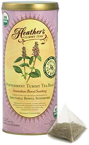Heather's Tummy Teas Organic Peppermint Tea for IBS, 36 Jumbo Teabags