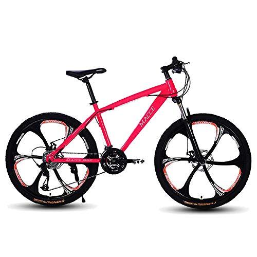 Mountain Road Bike,24/26 Pollici Sistema Di Deragliamento A 21 Velocità Brake Doppio Freno V,Con Foulard Da Equitazione MTB Bicicletta Acciaio Al Carbonio Uomo Donna Suspension Mountain Bike,Rosa,26'