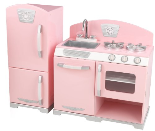 Kidkraft Pink Retro Kitchen and Refrigerator Play Set