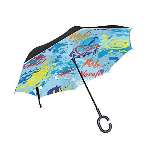 HYJDZKJY Dubbele Laag Omgekeerde Paraplu's Omgekeerde Opvouwbare Paraplu Blots Inkt Splashes en Hand Geschreven Tekst Winddicht voor Auto Regen Outdoor met C-Shaped Handvat