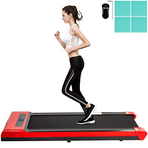Happybuy Under Desk Treadmills, Led Digital Display Treadmill Machine with Remote Control,1-6.0km/h Speed Portable Walking Machine, for Home Indoor Exercise, Black&Red