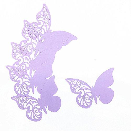 ElecMotive 50Tlg Schmetterling Tischkärtchen Wandsticker Namenskärtchen Platzkarte Namensschild für Hochzeiten Feste Partys (Flieder)