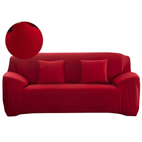 Scorpiuse Stretch Sofa Cover 1-Piece Polyester Spandex Fabric 3 Cushion Couch Slipcover Red