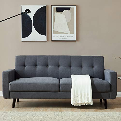 79 inch Polyester Fabric Couch,JULYFOX Mid Century Modern Sofa 3 Seater Button Tufted Back Cushions for Living Room Office Club,Dark Gray