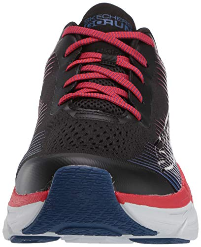 Skechers MAX Cushioning Premier, Zapatillas para Hombre, Negro (Black Textile/Red Synthetic/Blue Trim Bkwr), 44.5 EU