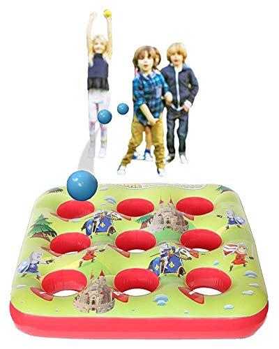 ZFmj Juego Inflable de Bola Objetivo para niños Juegos de Fiesta al Aire Libre Chicas 3 en un Juguete Inflable del jardín de la Fila