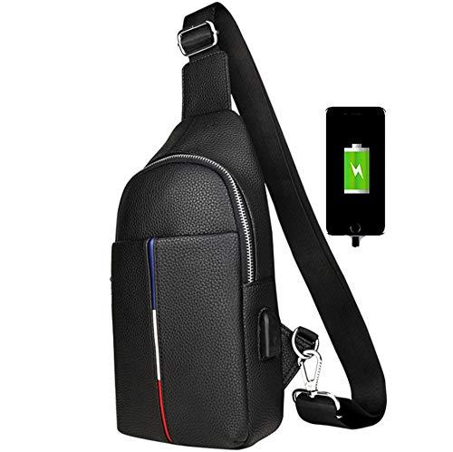 WYYJXZ wasserdichte Brusttasche Diagonal Cross Bag Outdoor-Reittasche Mit USB-Ladekopfhörerbuchse, Brusttasche Für Reife Männer,Schwarz