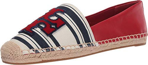 Tory Burch INES Fil Coupe Espadrille Navy Bold Awning Stripe/Brilliant Red 6 M