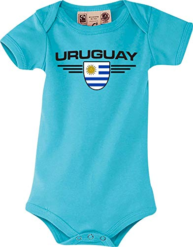 Shirtstown Body Bebé Uruguay, Escudo, Land, Países - Azul Claro, 0-6Monate