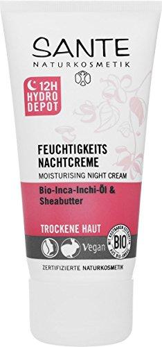 SANTE Naturkosmetik Feuchtigkeits Nachtcreme, Trockene Haut, Intensive Feuchtigkeit, Glättet spürbar, Vegan, Bio-Extrakte, 50g