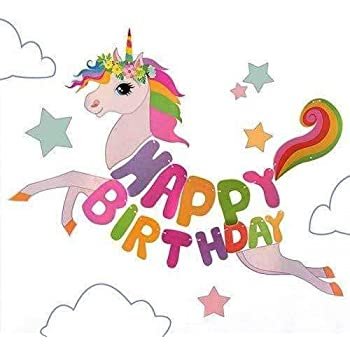 Party Propz Happy Birthday Unicorn Banners for Birthday Reception Decoration Set of 1 Pc