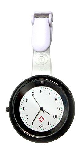 Ellemka - JCM-2103 N NN H+ Krankenschwesternuhr Pflege | Analoge Anzeige | Quarz Uhrwerk | Clip ABS Hängeband | Black Schwarz
