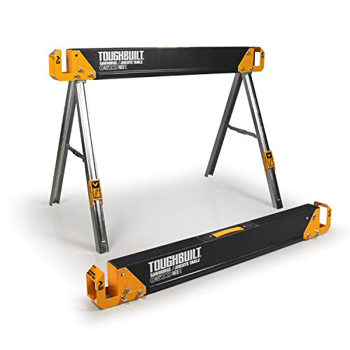 ToughBuilt - Foldiing Sawhorse with 2x4 Support Arms - Sturdy, Durable, Lightweight, Heavy-Duty, 100% High Grade Steel - 1100 LB Capacity - (TB-C500) - 1 Count