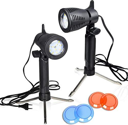 Emart Fotografie LED Dauerlichtlampe 5500K Tragbare Kamerabeleuchtung Fotolicht für das Tischstudio - 2 Sätze