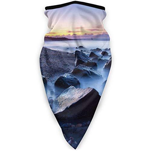 GWrix Cubierta Facial,Pañuelo para La Cabeza,Diademas para Exteriores,Sunset Sea Beach Rocks Linterna De Cuello De Faro,Protección Solar UV,Pasamontañas Unisex,Sombreros A Prueba De Viento