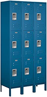 Salsbury Industries 63365BL-U Triple Tier 36-Inch Wide 6-Feet High 15-Inch Deep Unassembled Standard Metal Locker, Blue