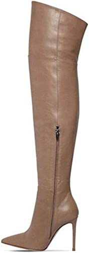 Hysxm Cuisse Bottes Hautes Femmes Hiver Sexy Femme Chaussures à Talons Hauts Bout Pointu, Plus La Taille 33 43 Sexy sur Les Bottes Au Genou